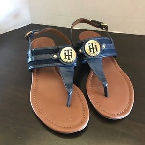 Tommy Hilfiger navy & gold size 8 thong sandals